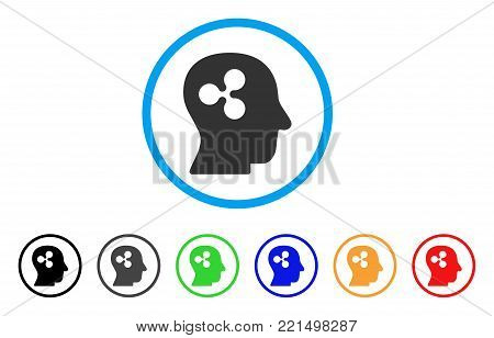 Ripple Thinking rounded icon. Style is a flat gray symbol inside light blue circle with bonus color versions. Ripple Thinking vector designed for web and software interfaces.