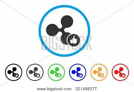 Ripple Thumb Up rounded icon. Style is a flat gray symbol inside light blue circle with additional colored variants. Ripple Thumb Up vector designed for web and software interfaces.