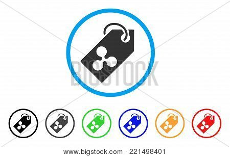 Ripple Token rounded icon. Style is a flat grey symbol inside light blue circle with additional color variants. Ripple Token vector designed for web and software interfaces.