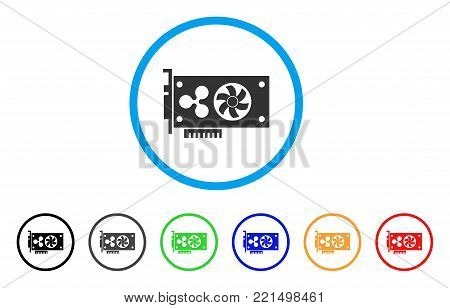 Ripple Video Gpu Card rounded icon. Style is a flat grey symbol inside light blue circle with bonus colored variants. Ripple Video Gpu Card vector designed for web and software interfaces.