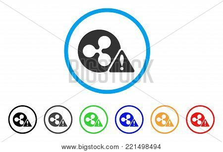 Ripple Warning rounded icon. Style is a flat grey symbol inside light blue circle with bonus color variants. Ripple Warning vector designed for web and software interfaces.