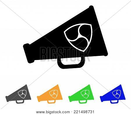 Nem Megaphone icon. Vector illustration style is a flat iconic nem megaphone black symbol with grey, yellow, green, blue color versions. Designed for web and software interfaces.