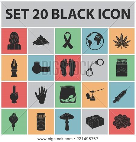 Drug addiction and attributes black icons in set collection for design. Addict and Drug vector symbol stock  illustration.