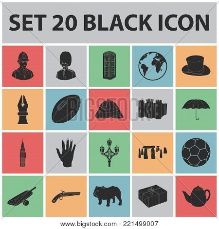 England country black icons in set collection for design.Travel and attractions vector symbol stock  illustration.