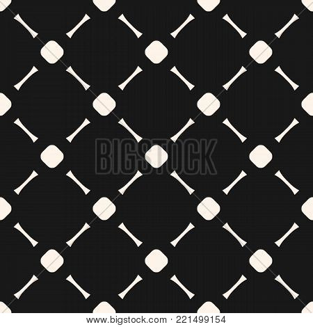 Grid pattern. Mesh, net, lattice, grill, lathing. Simple vector minimalist seamless pattern, abstract monochrome geometric texture with circles and lines in diagonal grid. Abstract minimal background, repeat tiles. Dark design for decoration, covers