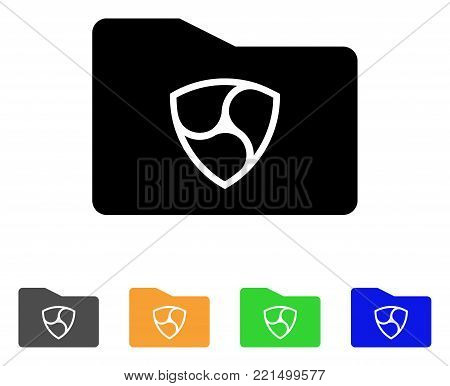 Nem Purse icon. Vector illustration style is a flat iconic nem purse black symbol with gray, yellow, green, blue color versions. Designed for web and software interfaces.