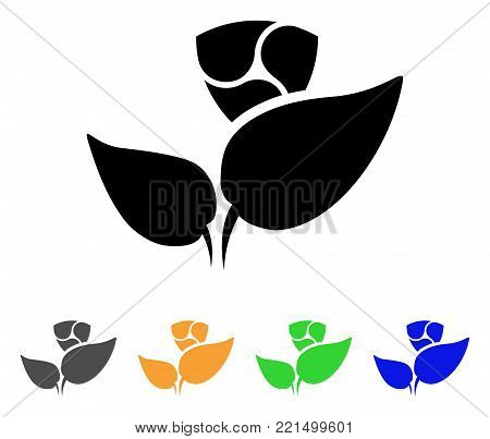 Nem Startup Sprout icon. Vector illustration style is a flat iconic nem startup sprout black symbol with gray, yellow, green, blue color variants. Designed for web and software interfaces.