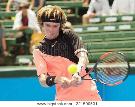 Melbourne, Australia - January 11, 2018: Tennis player Andrey Rublev preparing for the Australian Open at the Kooyong Classic Exhibition tournament