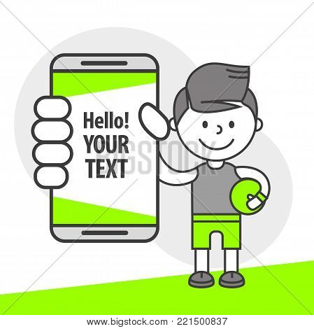 Simple flat stylistics adaptation to corporate style. Icon message man guy athlete football player shows mobile phone message positive