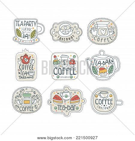 Cute hand drawn set of coffee and tea labels for street shop, cafe or bar. Different shapes of badges, teapot, cup, rectangle, circle. Take away store. Isolated line style vector with lettering.