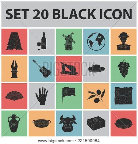Spain country black icons in set collection for design.Travel and attractions vector symbol stock  illustration.