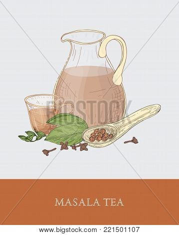 Glass jug, cup of masala chai or traditional spiced Indian tea, spoon, cardamon and cloves on gray background. Tasty flavored drink. Colorful vector illustration hand drawn in vintage style for tag