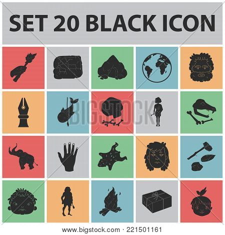 Life in the Stone Age black icons in set collection for design. Ancient people vector symbol stock  illustration.