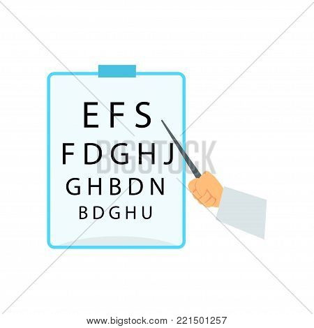 Hand pointing to the table for testing visual acuity, eyesight test chart for eye tests cartoon vector Illustration on a white background