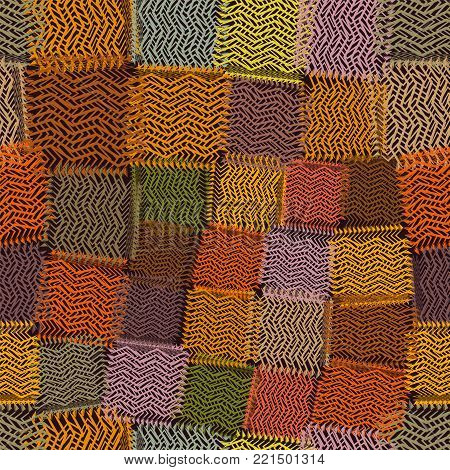 Seamless pattern with grunge striped latticed colorful square elements on brown bacldrop