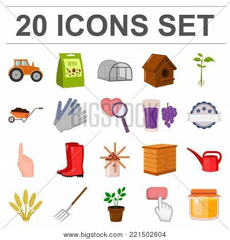 Farm and gardening cartoon icons in set collection for design. Farm and equipment vector symbol stock  illustration.