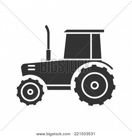 Tractor glyph icon. Silhouette symbol. Agricultural implement. Negative space. Vector isolated illustration