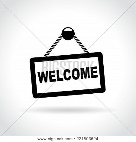 Illustration of welcome sign on white background