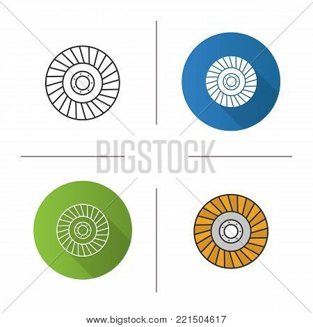 Abrasive flap wheel icon. Flat design, linear and color styles. Isolated vector illustrations