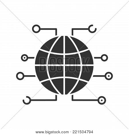 Global cryptocurrency glyph icon. World wide web. Silhouette symbol. Globe. Negative space. Vector isolated illustration