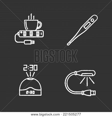 Gadgets chalk icons set. USB lamp and cup warmer, projection clock, electronic thermometer. Isolated vector chalkboard illustrations