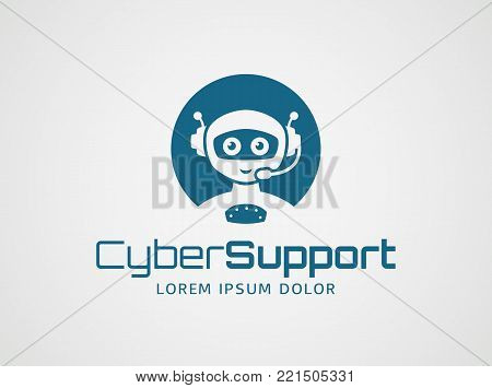 Smart robot with headset. Logo template isolated on white background. Artificial intelligence, chatbot, virtual call center, and cyber support themes. Vector concept symbol.