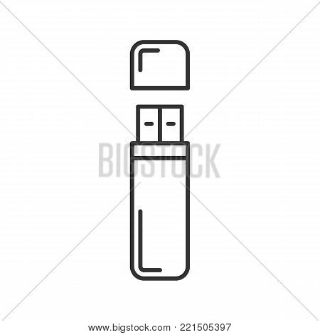 USB flash drive linear icon. Digital storage. Thin line illustration. Memory stick. Contour symbol. Vector isolated outline drawing