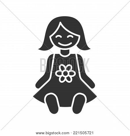 Baby doll glyph icon. Silhouette symbol. Negative space. Vector isolated illustration
