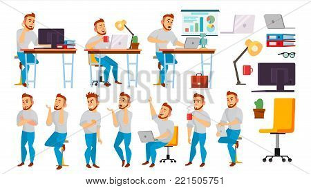 Business Character Vector. Working Male. Environment Process In Office. Full Length. Programmer, Manager. Isolated Flat Cartoon Character Illustration