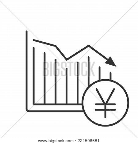 Yen falling linear icon. Statistics diagram with japanese currency sign. Thin line illustration. Financial collapse. Contour symbol. Vector isolated outline drawing
