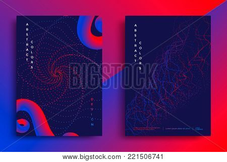 Minimal covers or posters design template. Abstract shapes with vibrant gradients. Vector illustration