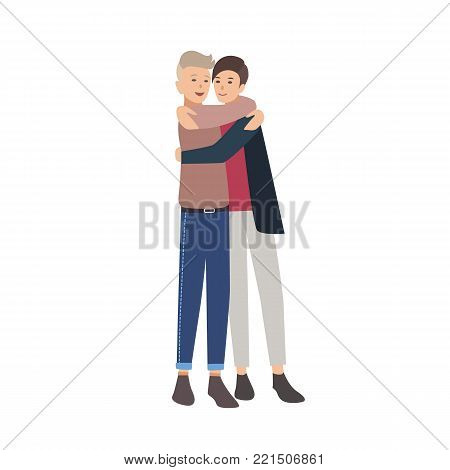 Pair of young men standing together and hugging. Close friends embracing and smiling. Buddies or pals. Flat male cartoon characters isolated on white background. Colorful vector illustration poster