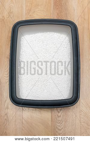 Cat litter box with clumping clay on wooden floor