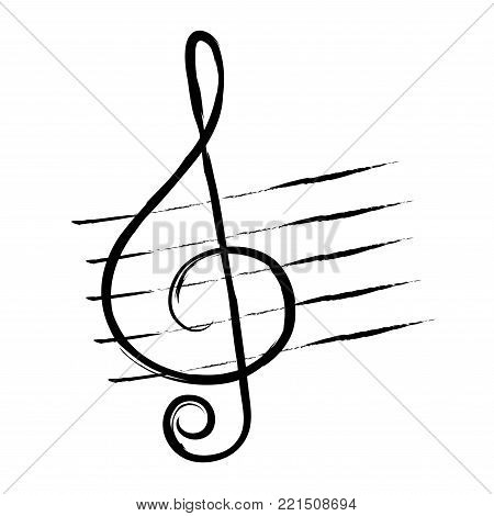 treble clef, hand drawn in grunge style or vintage. Music symbol. Vector