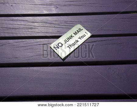 No junk mail thank you metallic sign