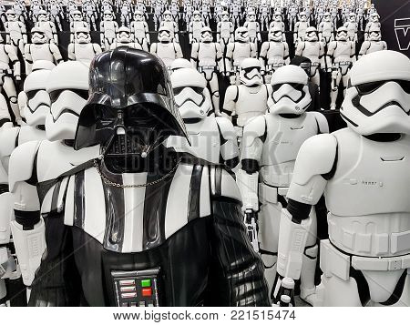 TOKYO, JAPAN - JULY, 2017: Star wars figures stormtroopers and Darth Vader