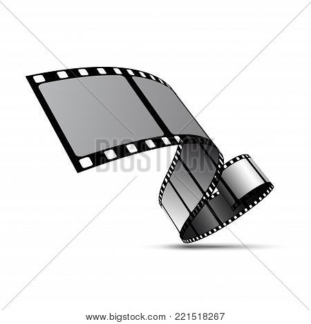 Vector film strip reel. Movie cinema 3d filmstrip tape background.