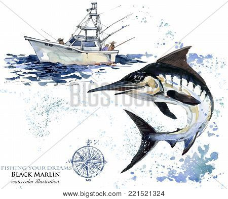 swordfish. hand draw watercolor Marlin illustration. Atlantic fishing