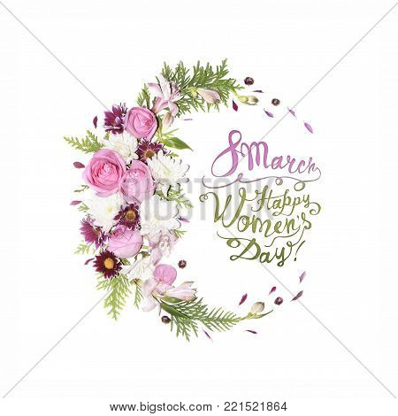 8 March. Happy Women's Day! Card With Pink And Blue Lupine Flowers