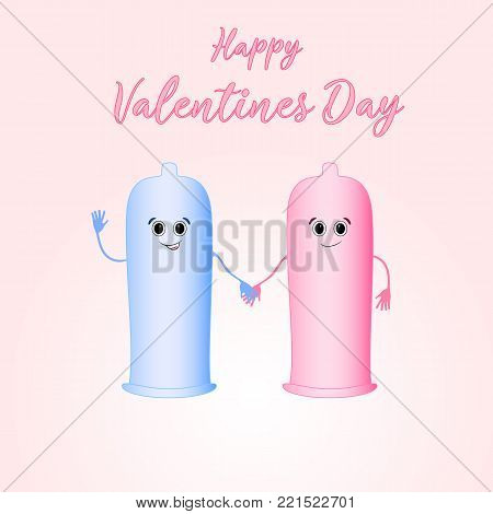 Valentine's day. Safe sex. Romantic design elements. Love with condom.