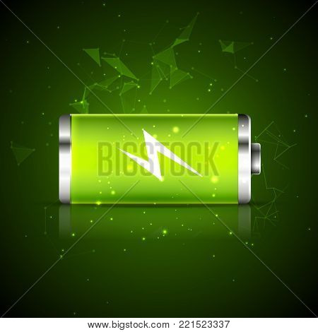Battery charge energy power icon. Vector battery recharge design energy technology.