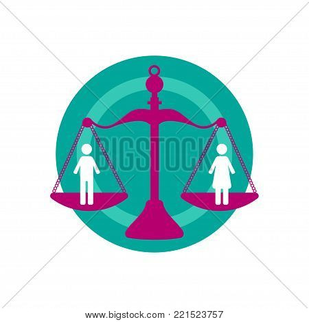 Man and woman on scales. Symbol, icon, logo, gender equality and equal rights. Vector illustration