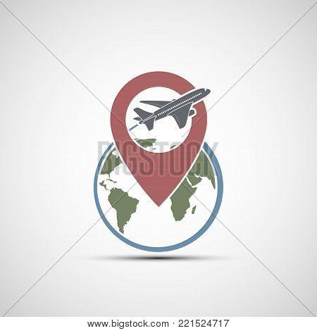 Icon airplane. Flies around the earth planet. Stock vector logo design illustration.