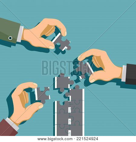 Hands fold the road from pieces of the puzzle. Development and success. Partnership and cooperation in business. Stock vector cartoon illustration.