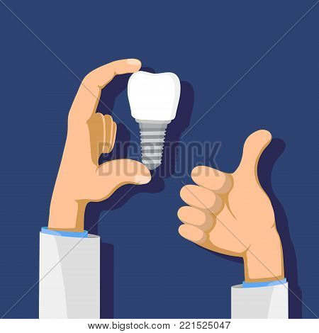 Dentist holding a dental implant in his hand. Health care and medicine. Stock vector flat graphics illustration.
