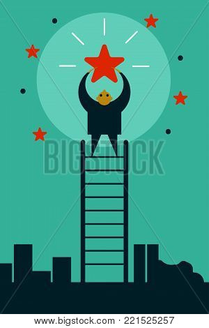 Businessman climbing ladder up and taking star from sky. Cartoon character. Achievement of goal. Leader, winner. Vector illustration