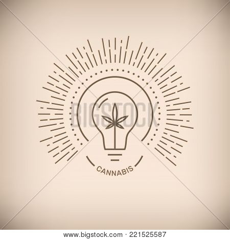 Vector illustration of lightbulb with medical marijuana leaf and Cannabis word on beige background.