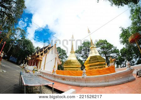 Wat Phra That Doi Tung. this temple has a stupa reputed to contain the Buddha's collarbone, Located atop Doi Tung itself at an altitude of nearly 2000 meters.Chiangrai Province,Northern of Thailand.