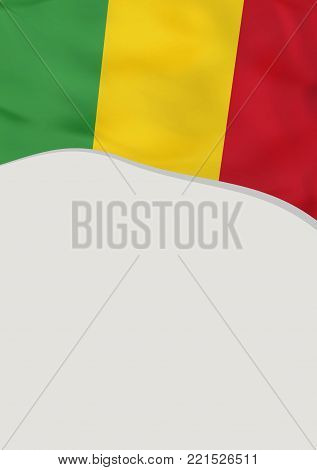Leaflet design with flag of Mali. Vector template.