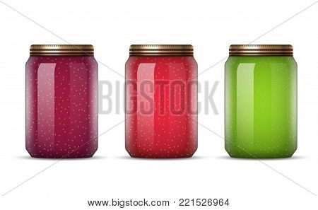 Glass jars with jam vector illustration. Canned food preserve container. Jam dessert in jars.